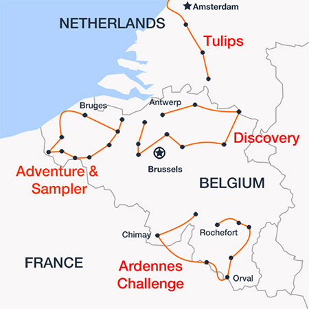 Mapa de las rutas disponibles